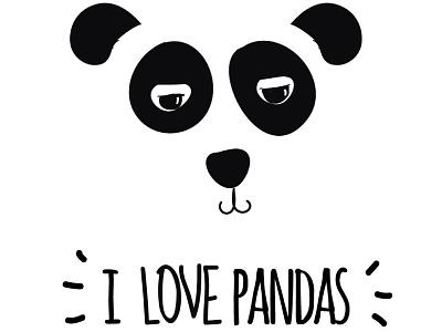 I love Pandas icon blackwhite animal love panda