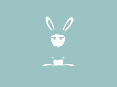 Rabbit M blue illustration animals rabbits rabbit