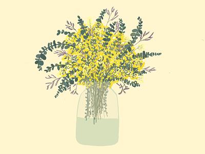 Las flores yellow flowers flower vase eucalyptus eucalipto flower flor illustration