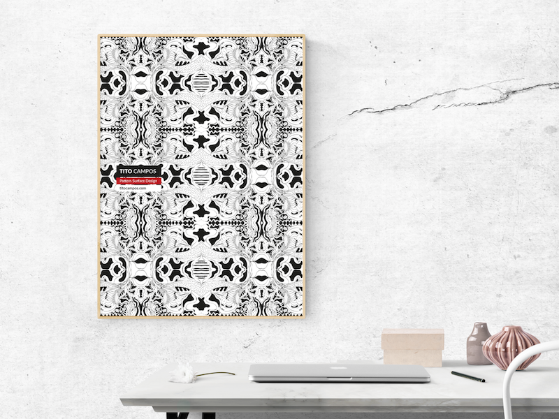 Pattern & Surface Poster poster interior desk balck and white textile surface pattern