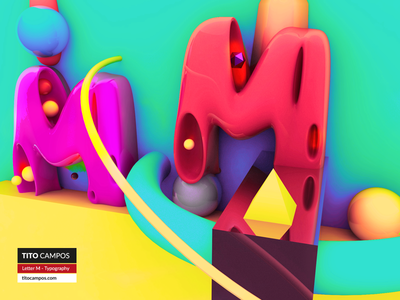 Letter M - Typography Rebound (FullShot) art direction design m font type cinema 4d 3d typography letter m