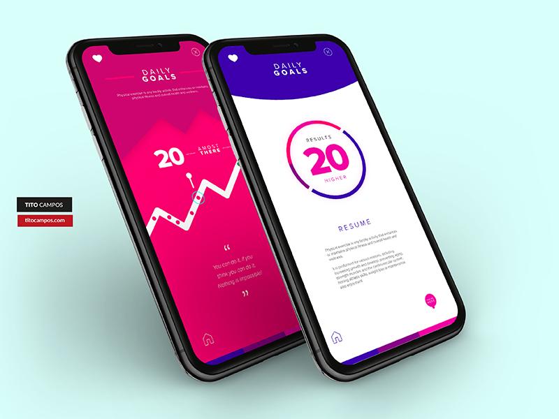 Daily App Progress Inner Screens iPhone X iphone x type icon wip progress data status ux app design app ios ui
