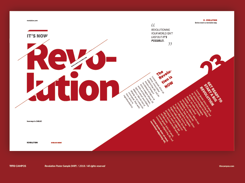 Revolution Poster Sample (WIP) editorial text multimedia red design poster composition tipografia type typography