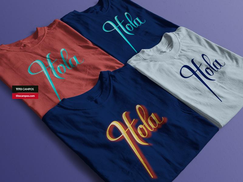 Hola Tshirts - Hello (Lettering) Type design tshirt design tshirt art 3d lettering 3d colors product caligraphy typography lettering typeform type design tshirt