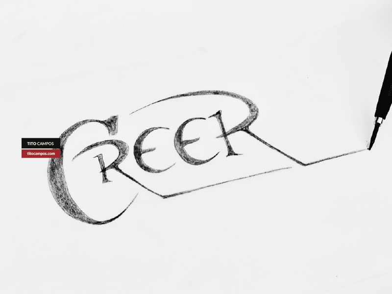 Sketch WIP – CREER (Believe) phrase grow crecer wip boceto boveto sketch tipografia typography typo type lettering letterform typeform