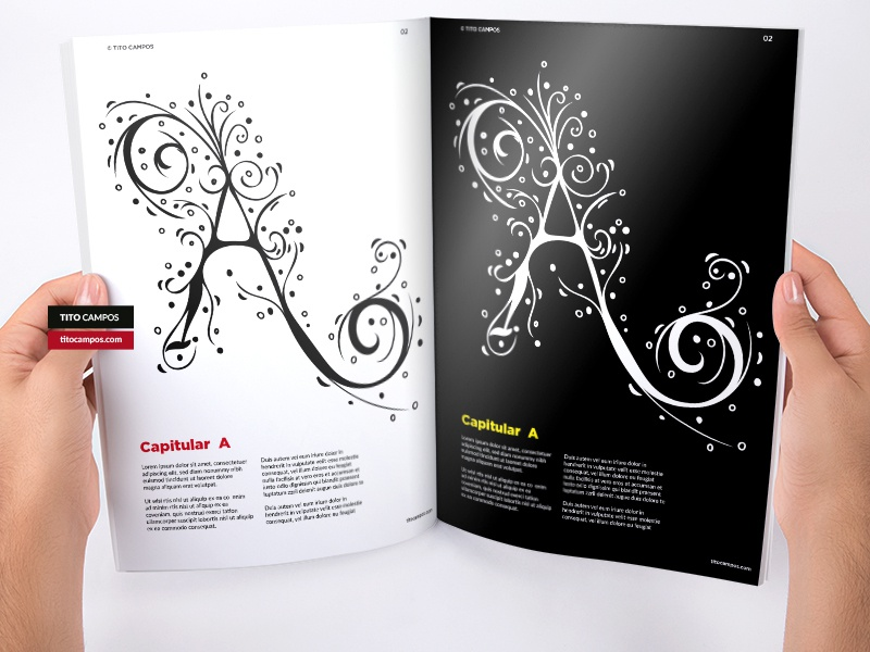Capitular A – Black And White texture capitular caps caption letra editorial design layout design letter shapes type design tipografia type lettering typeform typography