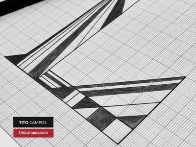 En progreso: Letra Capitular L Geométrica sketchbook black and white geometrical capitular lettering process type typeform sketch typography tipografia