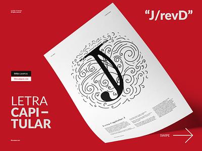 Diseño de letra capitular J revD editorial layout editorial design design letterforms letterfarm letra capitular letterform lettering typography type tipografia editorial