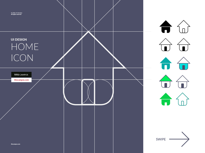 Home Icon - Diseño de Icono - UI Rebound shape interface design iconography icons set icons layout grid ui home icon