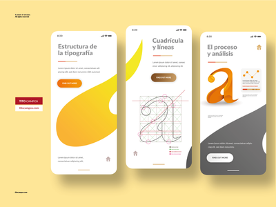 UI Design - Typography App Concept typography design grid composition design ux application interface typographic ui app type typo typeface typography