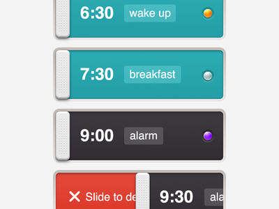 Alarm Clock - list view