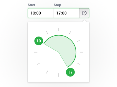 Time selector clock time input select clock 12 hours period frame tooltip