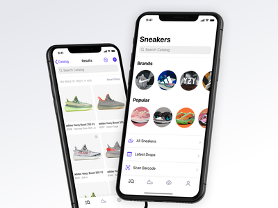 Sneaker Collection View navbar tabbar apple ios app shopping search tab overview list grid catalog sneaker