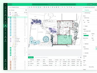 Blueprint Calculations Web Application list interface ui tool layers sidebar green header building construction blueprint drawing app web