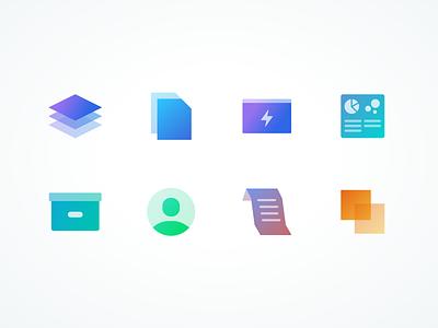 Everchron Feature Icons gradient transparent app icon design colorful icons everchron