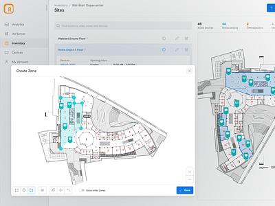 Zone Drawing Tool 📐 modal tool polygon design ui dashboard web real estate floorplan drawing