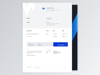 Invoice signature blue letter freelance template invoice