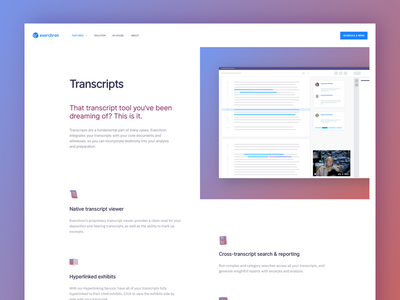 Transcripts Feature website gradient mockup wireframe image header feature transcript everchron