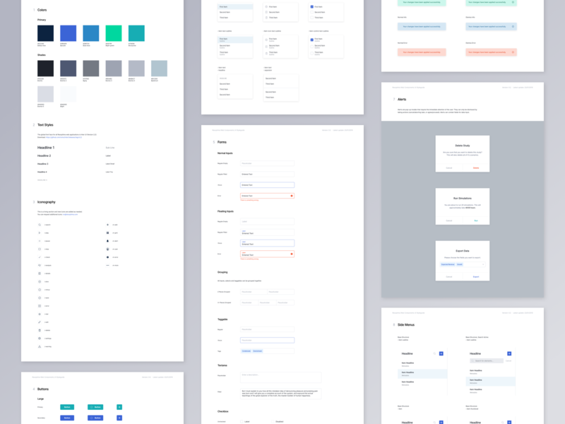 Resoptima Design System 1.0 web app style guide lists dialog alert button check box form input kit system design ui