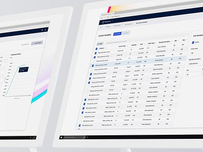 Resoptima Variables Editor line chart graph sidebar purple toolbar table design button web header app ui