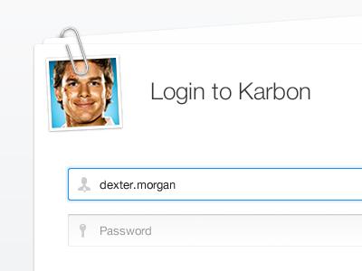 Login Form ui karbon input text password focus login avatar paper form