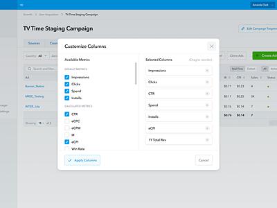 Customize Columns Modal columns drop drag table modal forms blue design web header app ui