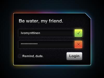 Login Rainbow login ui rainbow colourfull correct false error button forms