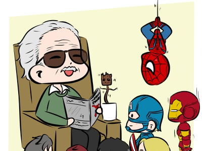 RIP Stan Lee fan art cute art illustration anime chibi deadpool thor hulk doctor strange groot captainamerica ironman spiderman marvel stan lee