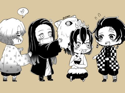 Kimetsu no Yaiba 01 inosuke zenitsu nezuko tanjiro fan art cute illustration illustration art illustrator chibi cute demon manga anime demon slayer kimetsu no yaiba