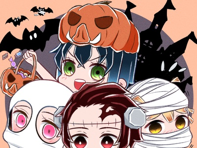 Halloween 2020 kny zenitsu halloween manga tanjiro nezuko inosuke fan art illustration cute illustration cute chibi kimetsu no yaiba illustration art anime demon slayer