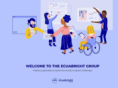 The Ecuabright Group Illustration nonprofit team building community consultant icon typography vector branding logo illustration design