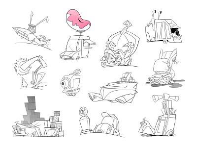 Vehicles inking ink lineart sketchbookpro concept art drawing cartooning cartoon cars vehicles inktober