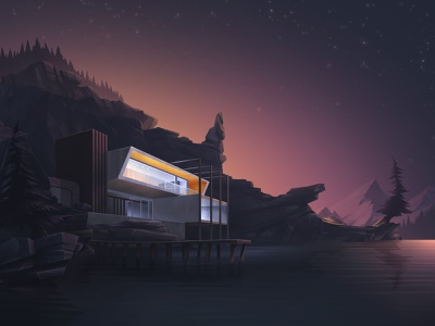 Cabin at the lake vintage brutalism midnight lakecabin environment design game art background concept art design architecture midcentury modern woods cabin lake