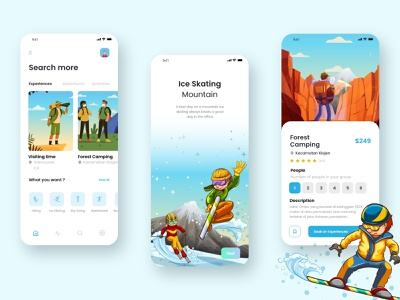 Travel Booking Mobile Apps website branding illustration vector typography ux minimal ui design app