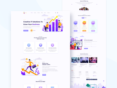Creative IT Solutions Template illustration landing page homepage web website ux typography ui minimal