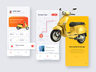 Your scooter in one app vector design illustration mobile app mobile app design mobile ui mobile app ux typography ui minimal