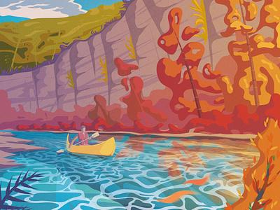 Buffalo River - Vector Illustration kayaking kayak illustrator adobe illustrator vector illustration vector art vector lake illustration design illustration art illustration flat illustration flat art flat design artwork ai
