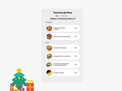 """Daily UI 043 Challenge """"Food/Drink Menu"""" christmas italian food food menu illustration colorful design flat minimal dailyuichallenge ui dailyui"""