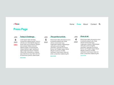 DailyUI Challenge 051 - Press Page presspage design flat minimal ui dailyuichallenge dailyui