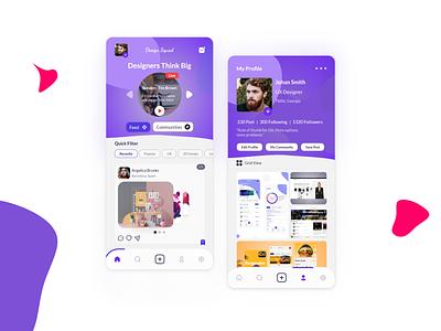 Social App UI - Design Squad mobile app simple clean interface simple clean mobile app design mobile design mobile ui application app design social social media design social network socialmedia