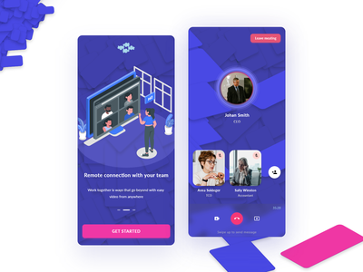 Videocall APP - UI ux app interface clean minimal hangout zoom video call call mobile app design mobile ui mobile application videocall chat conversation people livestream remote