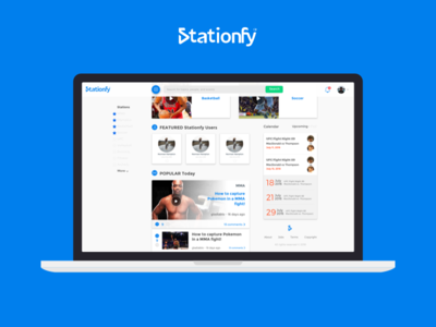 Stationfy Homepage social feed ux ui website station sports redesign highlights