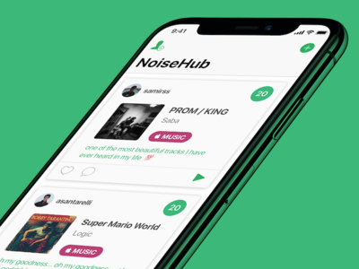 a closer look at NoiseHub ux ui feed jukebox music play noisehub noise sound spotify apple music