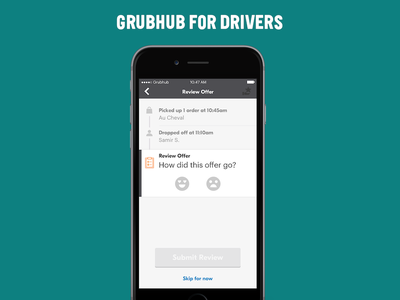 GH Drivers Reviewing Offers car vehicle ux ui trip offer driver delivery food grubhub