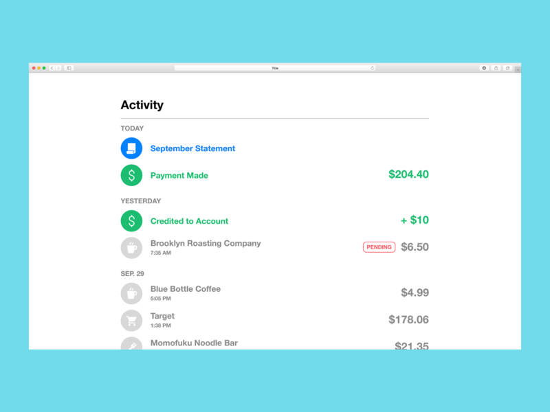 Simple Credit Card Payment Feed design ux ui date activity simple payment money statement bank credit card