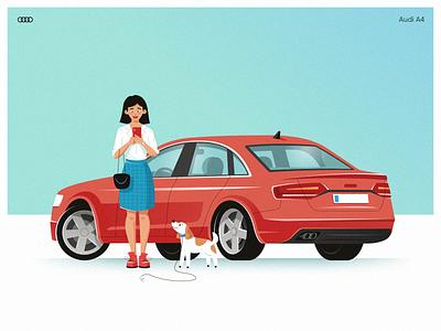 AutoRia - Audi A4 billboard red car red dog woman volvo bmw chevrolet car market car illustration avto banda audi a4 autoria car audi aleksandrov alexandrovi illustration alexandrov