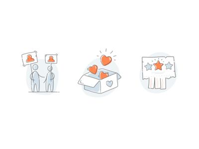 Inssta illustrations fireart fireart studio illustration star user heart price follower like outline icons