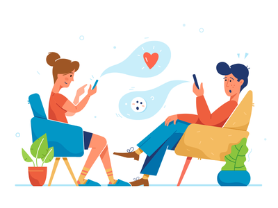 Go offline illustration woman man sitting sit emotion love conversation online offline fireat studio fireart
