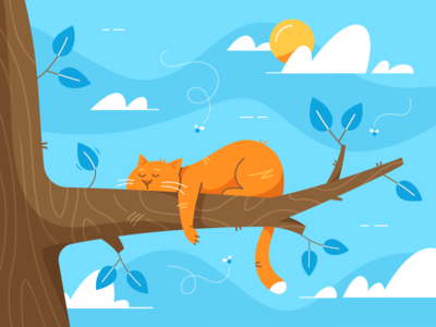 Reclining Cat huliganio alexandrov vector kitty kitten rest sun relax illustration cat fireat studio fireart