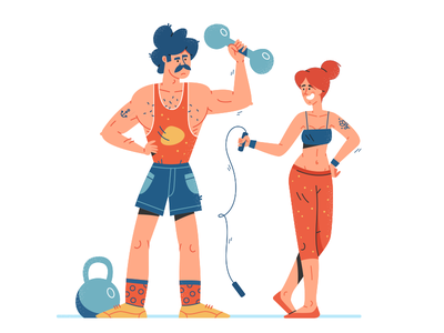 Be strong huliganio alexandrov gym woman man strong strength exercise sport illustration fireat studio fireart